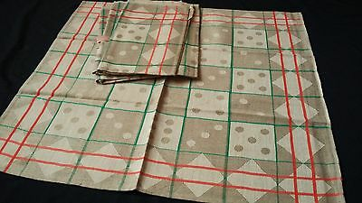 rare unused Towel or rustic napkin ecru linen and green/red-orange pattern