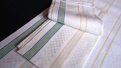 two antique linen kitchen Towels / Runners yellow/green/blue stripes