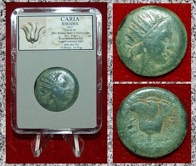 Ancient Greek Coin CARIA RHODES Radiate Head Of Helios and Rose on Reverse
