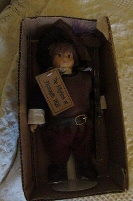 """Vintage 9"""" Springford Pilgrims At Plymouth 1620 Doll Porcelain In Box"""