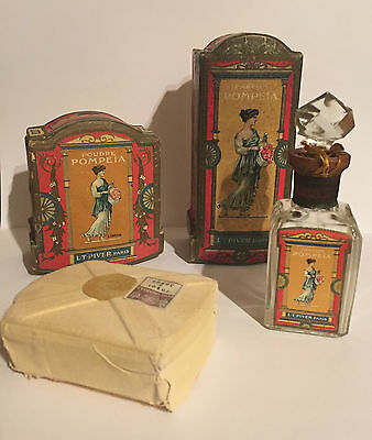 Antique 1907 French  Lt Piver Pompeia Crystal Bottle in Box & Face Powder Box
