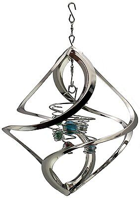 Garden Decor Wind Spinner Tree Hanging Yard Decoration Kinetic Spinning Silver