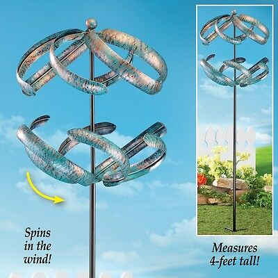 Spiral Double Wind Spinner Yard Stake Spinning Metal Decoration Garden Windmill