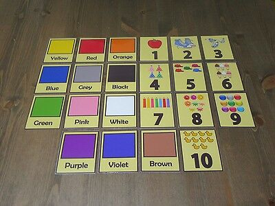 Numbers and Colour Flash Cards - Kids Toddlers Preschool Learning Autism SEN