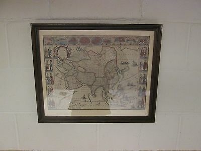 """Vintage Map of ASIA by """"The Famous Blaue Family"""" 1662 - Penn Prints New York"""