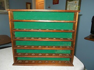 Wooden Wall Hanging Thimble Display  Holds 48 Thimbles Green Felt