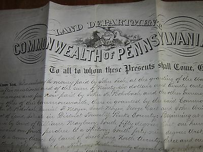 PA Gov. John Geary, Led a Division at Gettysburg, Signed Document