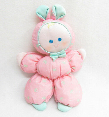 Vtg Fisher Price Slumber Babies Pink Bunny Rabbit Stuffed Plush Baby Doll