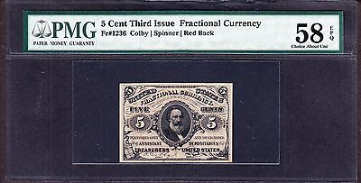 US 5c Fractional Currency 3rd Issue Red Back FR 1236 PMG 58EPQ Ch AU