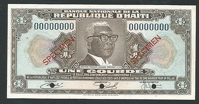 Haiti L.1973 P-210s UNC 1 Gourde *Specimen* (Not listed in Pick)