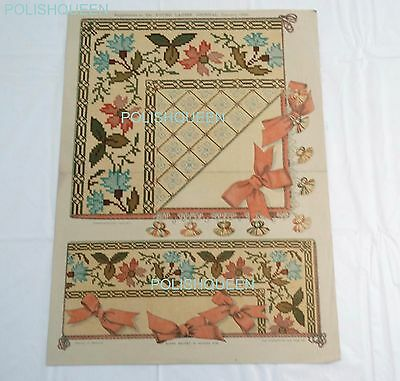 ANTIQUE 1895 TAPESTRY BERLIN NEEDLEWORK PATTERN for Handkerchief & Glove Sachet