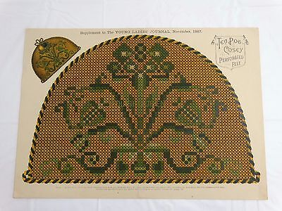 ANTIQUE 1887 TAPESTRY FLORAL NEEDLEWORK PATTERN for Tea Cosy Perforated Felt