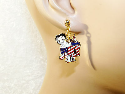 Betty Boop Dangling Earrings July 4th Gold Tone Patriotic