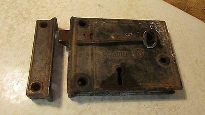 Antique Corbin Cast Iron Rim Lock & Key  No. 27