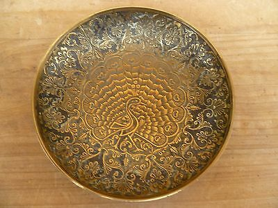 Vintage Old Asian Style Brass Decorated Dish, Pin Dish  (E239)