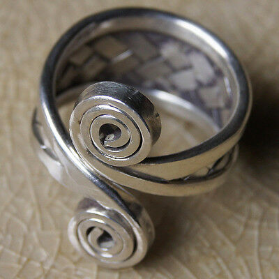Vintage Woven Ring Pure Silver Karen Hill Tribe  Size = N  Adjustable