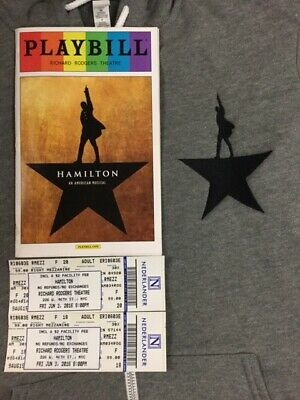 RARE ACTOR USED HAMILTON MUSICAL NEW YORK SMALL ZIP HOODIE + Playbill + tix Stub