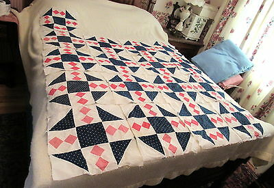 "Vintage Lot 17 Quilt 12"" Blocks Navy Pink White Prints Squares Triangles"