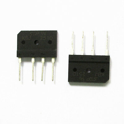 2 Piece PCB 25A 1000V Full Wave Single Phase Bridge Rectifier KBJ2510 4 Pins