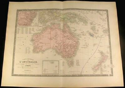 Australia New Zealand Tasmania New Guinea 1875 Brue Levasseur rare antique map