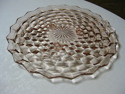 """Vintage Indiana Glass Whitehall Pink 12 1/2"""" Cake Plate  3 Footed"""