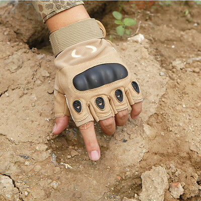New Tactical Fingerless Military Outdoor Airsoft Hard Knuckle Half Finger Gloves