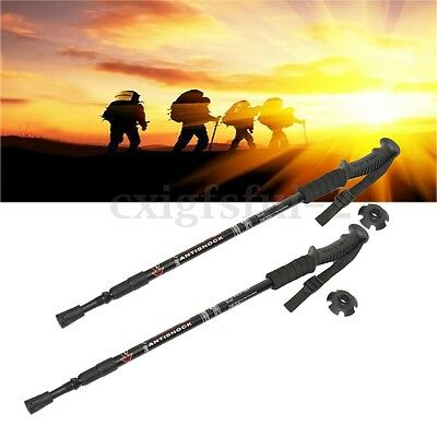 2Pcs Adjustable Travel Trekking Walking Hiking Sticks Cane Poles Alpenstock