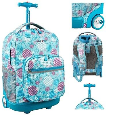 Rolling Backpack Book-Bag Wheeled Girls School Trolley Tote Carry Travel Roller