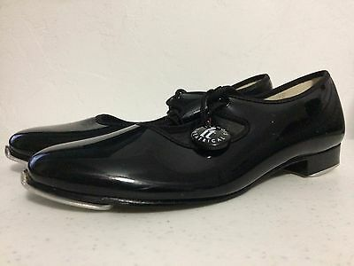 Girl's Size 1M Illinois Theatrical Footwear Black Patent Tap Shoes