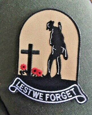 LEST WE FORGET * AUSSIE ANZAC BIKER PATCH.Australian War Remembrance Day Tribute