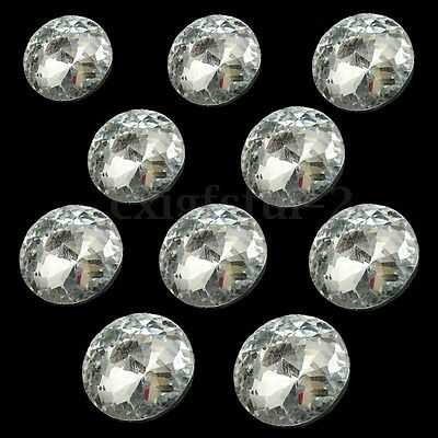 10Pcs 30mm Clear Round Diamond Crystal Charm Upholstery Buttons Sewing Craft UK