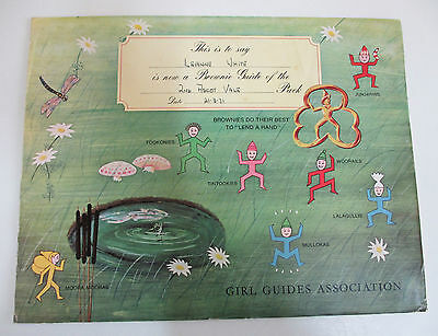 Brownie Guide Certificate - Girl Guides Association - Australia - 1971