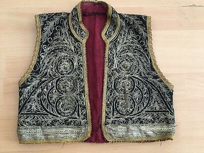 Antique Greek Heavily Silver Metallic Hand Embroideried Vest