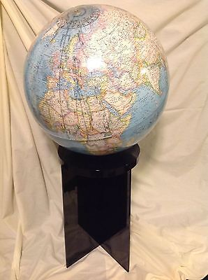 Rare National Geographic Globe on Black Lucite Stand