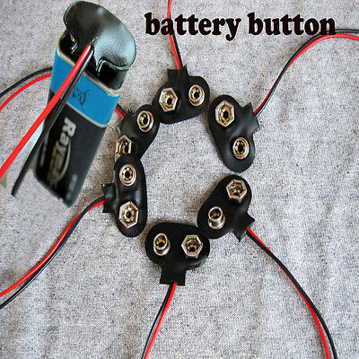 10pcsT-Type 9V Battery Clip Battery Holder With 15cm Cable Wire Lead Connector p