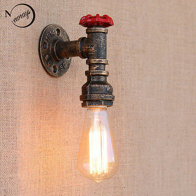 Steam Punk Loft Industrial Iron Rust Water Pipe Retro Wall Sconce Lamp Fixture
