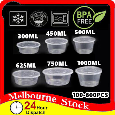 100-600 Lids Container Plastic Food Storage Lunch Round Take Away Microwave Box