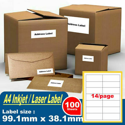 100x 14 Labels 105X42mm A4 white Sticker Paper Sheet Self Adhesive Laser Inkjet