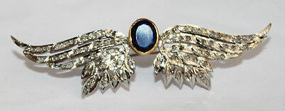 2.25ct ROSE CUT DIAMOND BLUE SAPPHIRE .925 STERLING SILVER BROOCH PIN
