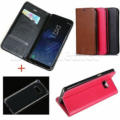 PU Leather Sheepskin Wallet Stand Case +Soft Transparent Case for Samsung S8 S8+