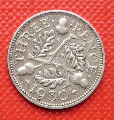 1930 King George V Gb Silver Threepence Coin / Scarce Date