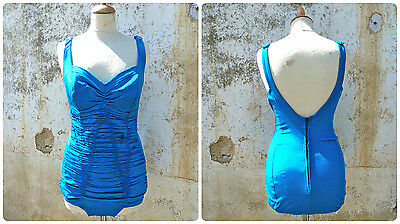 Vintage 1950/50s wrapped turquoise blue COLE of California pin up swimsuit