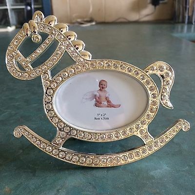 Silver Rocking Horse 8 x 5 cm Photo Frame: Ideal Christening or Baby shower gift