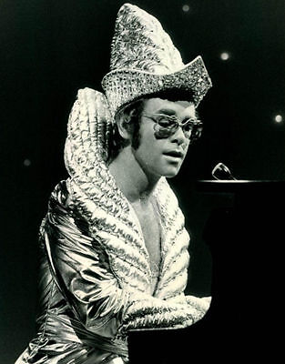 Elton John Pianist Singer Songwriter Glossy Black & White Photo Music Print A4