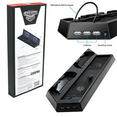 Vertical Stand Cooling Fan w/Dual Charging Dock Station For PS4 Pro Console New