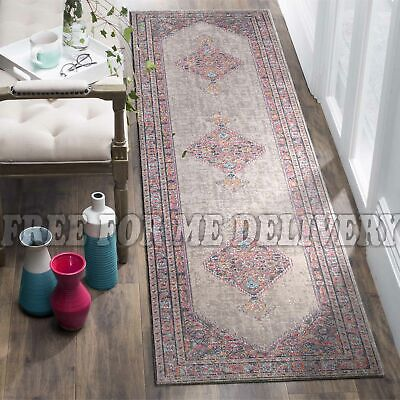 TALISH DIAMOND GREY VINTAGE PERSIAN LOOK RUG RUNNER 80x400cm **FREE DELIVERY**