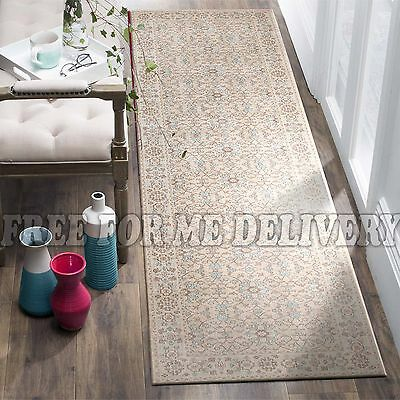TALISH ALLOVER CREAM VINTAGE PERSIAN LOOK RUG RUNNER 80x400cm **FREE DELIVERY**