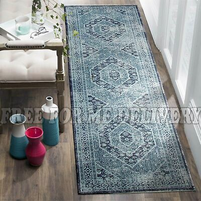TALISH MEDALLION BLUE VINTAGE PERSIAN LOOK RUG RUNNER 80x400cm **FREE DELIVERY**
