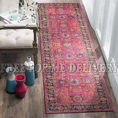 TALISH CHOBI PINK VINTAGE PERSIAN LOOK RUG RUNNER 80x300cm **FREE DELIVERY**