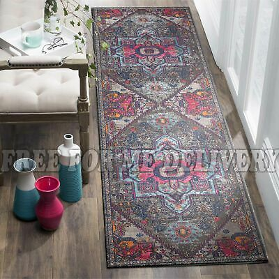 TALISH MEDALLION GREY VINTAGE PERSIAN LOOK RUG RUNNER 80x400cm **FREE DELIVERY**